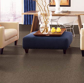 Living room scene with brown Alexander Smith carpet